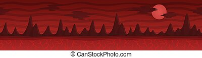 rochers, sombre, rouges, continious, dessin animé, paysage