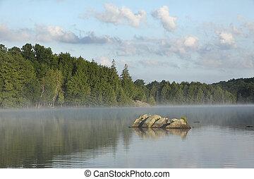 rochers, sur, brumeux, lac