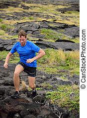 rochers volcaniques, traîner courir, actif, homme