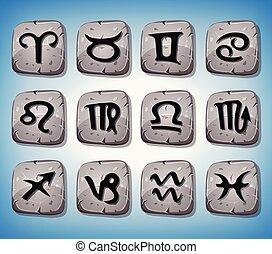 rochers, zodiaque, ensemble, signes, icônes