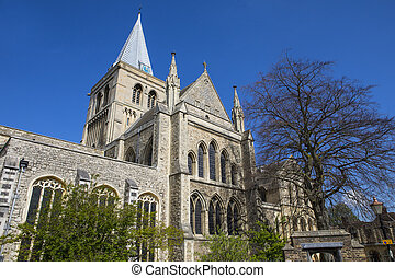 Rochester Cathedral in Kent - The magnificent facade of the...