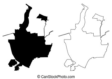Rochester City (United States cities, United States of America, usa city) map vector illustration, scribble sketch Rochester map