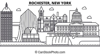 Rochester, New York architecture line skyline illustration. Linear vector cityscape with famous landmarks, city sights, design icons. Landscape wtih editable strokes