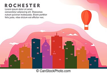 Rochester New York City Building Cityscape Skyline Dynamic Background Illustration