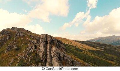 rocheux, cliffs., arête, montagne