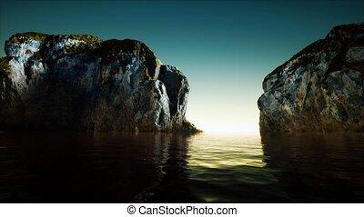 rocheux, eau mer, froid, falaise