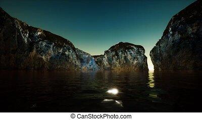 rocheux, eau, mer, froid, falaise