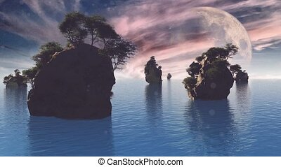 rocheux, géant, lune, islands.