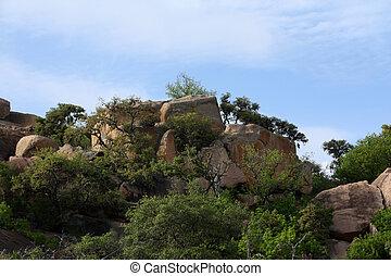 rocheux, landscap, à, rocher enchanté, parc