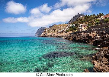 rocheux, mallorca, côte, méditerranéen, île, espagne