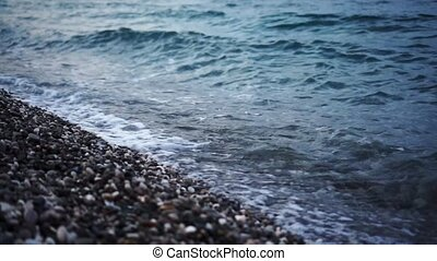 rocheux, mer, plage, evening., coucher soleil