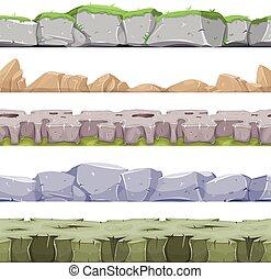 rocheux, seamless, jeu, ui, paysage, pierreux, raisons