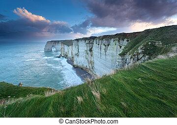 rocheux, sur, océan, côte atlantique, levers de soleil