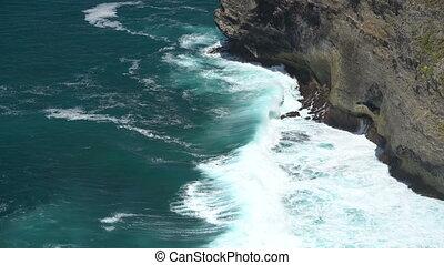 rocheux, vagues, sur, irrigation, océan, rivage, volcanique
