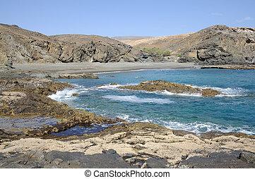 rochoso, costa ocidental, de, fuerteventura, ilhas canário, espanha