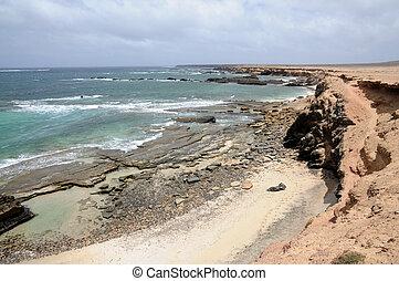 rochoso, costa ocidental, de, ilha canário, fuerteventura, espanha