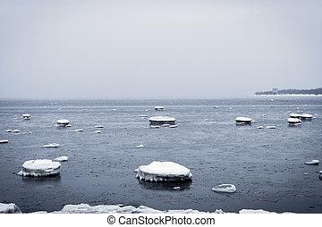 rochoso, inverno, costa mar