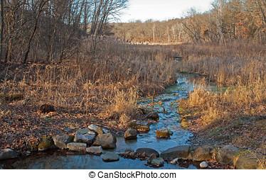 rochoso, riacho, em, inverno
