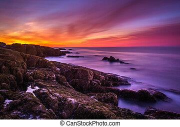 rochoso, sobre, nação, acadia, oceano atlântico, costa, amanhecer