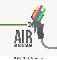 rociar, airbrush, o, vector., arma de fuego