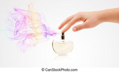 rociar, manos, mujer, perfume