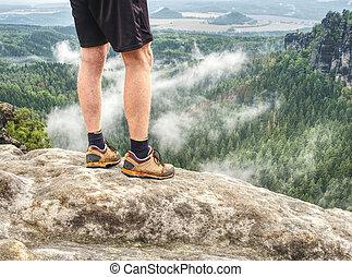 rock., ハイカー, ピークに達しなさい, 上昇, 日の出, ほっそりしている, 山, 足