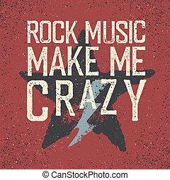 """rock, 私, 星, lightning., 作りなさい, crazy""., デザイン, テンプレート, グランジ, 音楽"