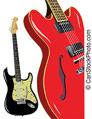 A pair of classic rock and roll guitars, isolated on white.