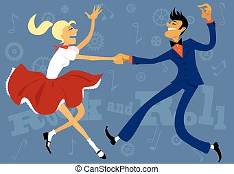 Cartoon couple dressed in 1950s fashion dancing rock and roll, vector illustration, no transparencies, EPS 8