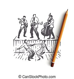 Rock and Roll, dance, music, party, retro concept. Hand drawn musicians play rock and roll, people dancing concept sketch. Isolated vector illustration.
