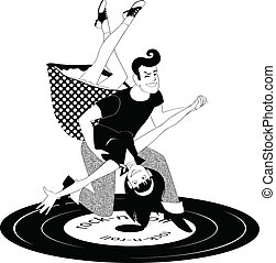 Couple dressed in 1950s style clothes dancing rock'n'roll, vector black and white illustration