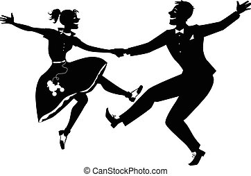 Black vector silhouette of a couple dressed in 1950s fashion dancing rock and roll, no white, will look the same on any color background