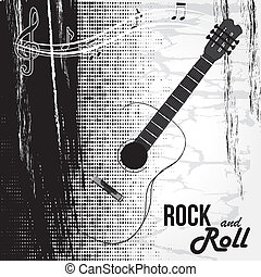 rock and roll design over white background vector...