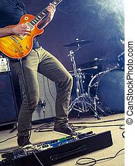 rock and roll, giocatore chitarra, palcoscenico