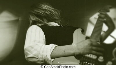 Rock and roll girl - A girl with long hair is actively...