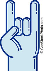 Rock and roll hand line icon.