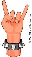 Rock and Roll hand sign icon, cartoon style