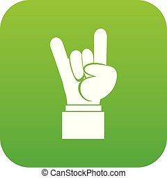 Rock and Roll hand sign icon digital green