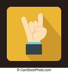 Rock and Roll hand sign icon, flat style