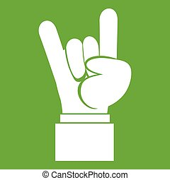 Rock and Roll hand sign icon green