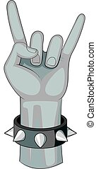 Rock and Roll hand sign icon monochrome