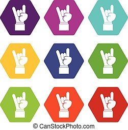 Rock and Roll hand sign icon set color hexahedron