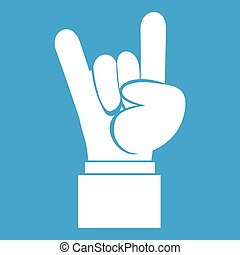 Rock and Roll hand sign icon white