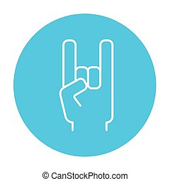 Rock and roll hand sign line icon.