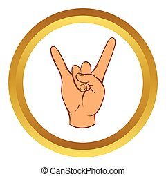 Rock and Roll hand sign vector icon, cartoon style