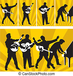 Rock and roll heroes of Sun Records - Silhouette vector...