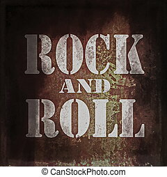 rock and roll music, old rusty wall