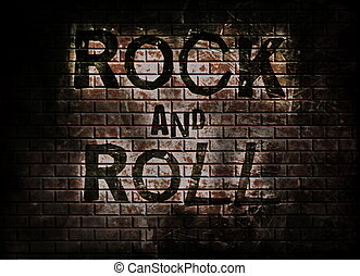 Rock and roll music on red wall