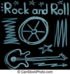 Rock and roll music word isolated on black backgrounds and...