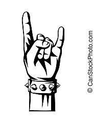 Rock and roll or heavy metal hand sign. Two fingers up emblem.